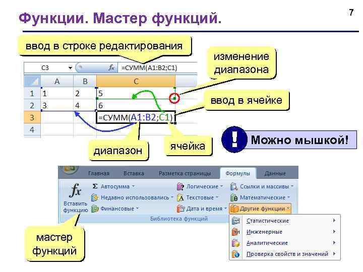 7 Функции. Мастер функций. ввод в строке редактирования изменение диапазона ввод в ячейке диапазон