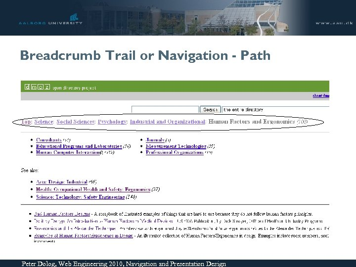 Breadcrumb Trail or Navigation - Path Peter Dolog, Web Engineering 2010, Navigation and Presentation