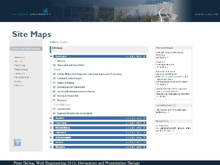 Site Maps Peter Dolog, Web Engineering 2010, Navigation and Presentation Design