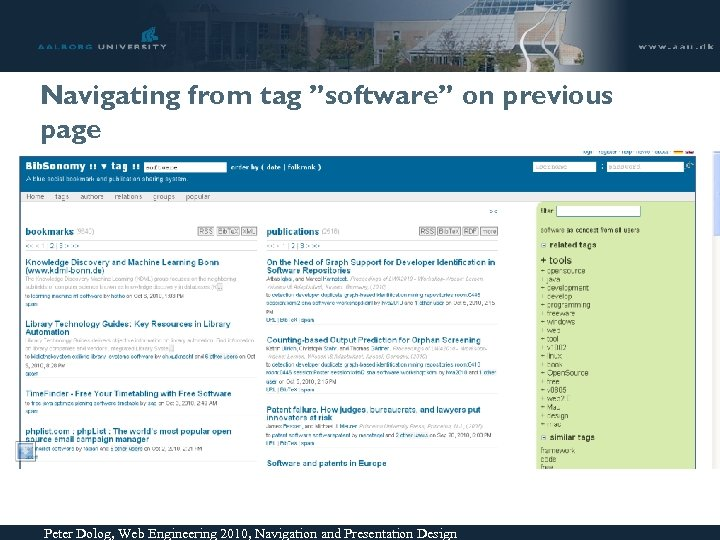 """Navigating from tag """"software"""" on previous page Peter Dolog, Web Engineering 2010, Navigation and"""