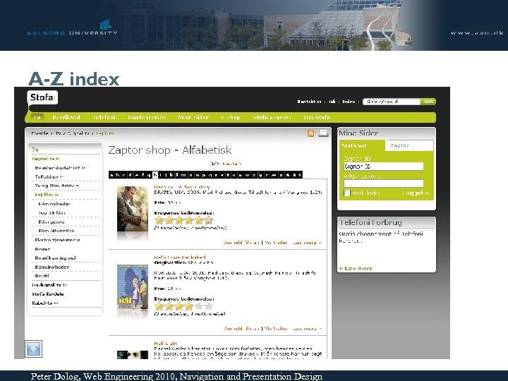 A-Z index Peter Dolog, Web Engineering 2010, Navigation and Presentation Design