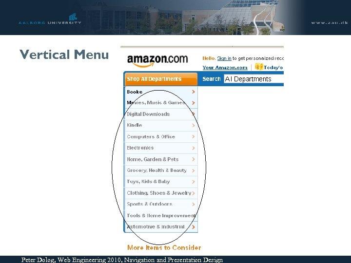 Vertical Menu Peter Dolog, Web Engineering 2010, Navigation and Presentation Design