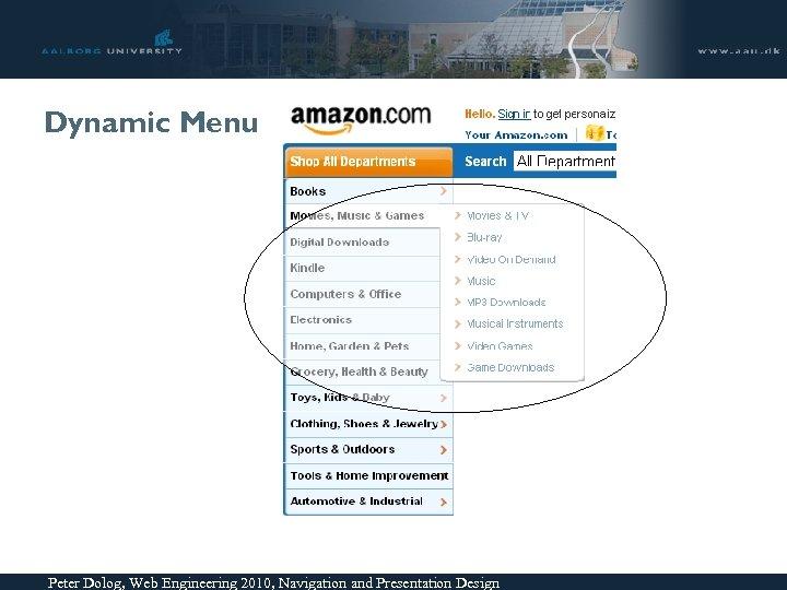 Dynamic Menu Peter Dolog, Web Engineering 2010, Navigation and Presentation Design