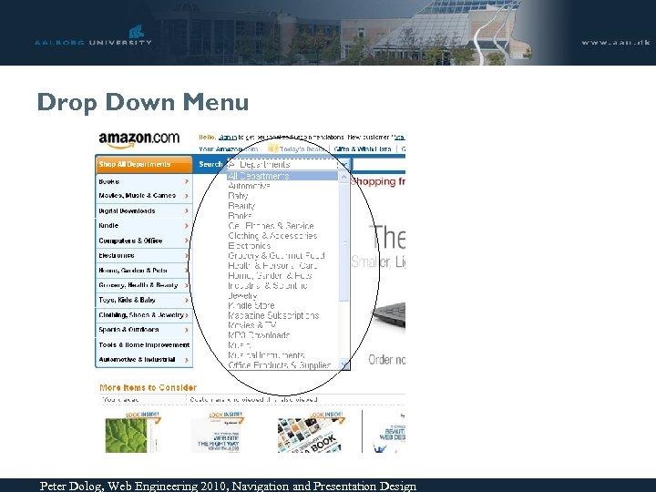 Drop Down Menu Peter Dolog, Web Engineering 2010, Navigation and Presentation Design
