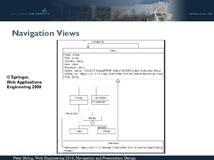 Navigation Views © Springer, Web Applications Engineering 2009 Peter Dolog, Web Engineering 2010, Navigation