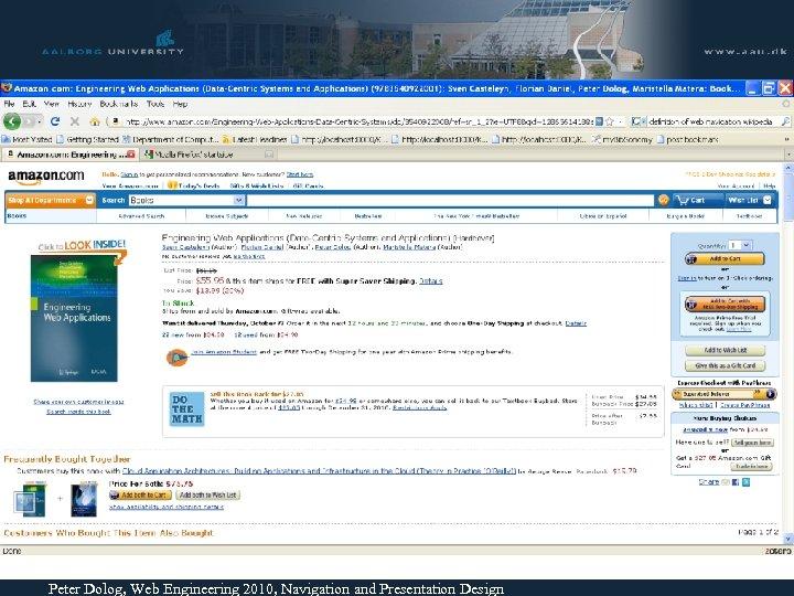 Peter Dolog, Web Engineering 2010, Navigation and Presentation Design