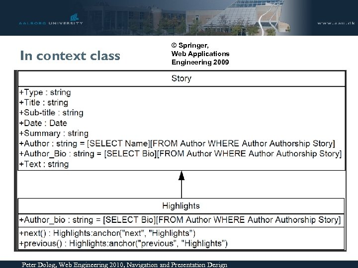 In context class © Springer, Web Applications Engineering 2009 Peter Dolog, Web Engineering 2010,