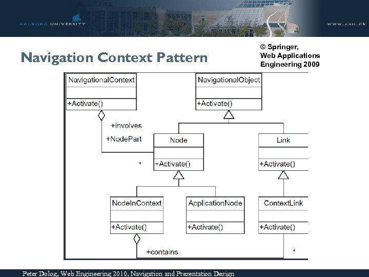 Navigation Context Pattern Peter Dolog, Web Engineering 2010, Navigation and Presentation Design © Springer,