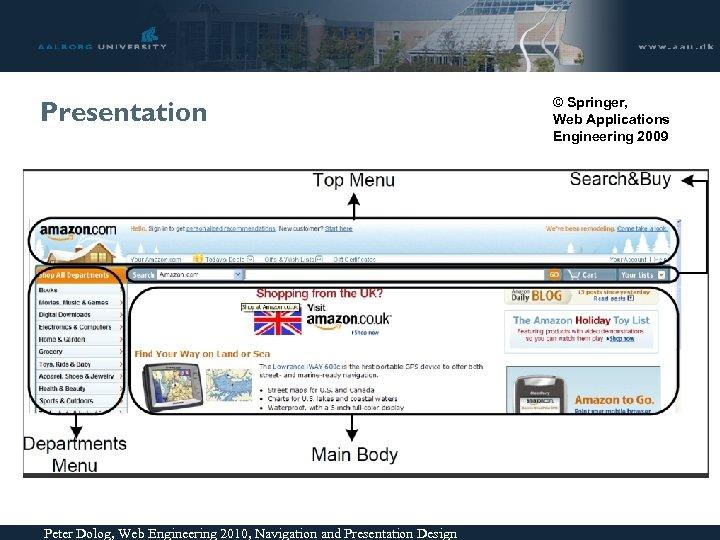 Presentation Peter Dolog, Web Engineering 2010, Navigation and Presentation Design © Springer, Web Applications