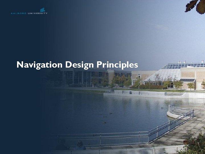 Navigation Design Principles