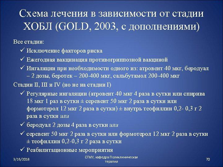 Схема лечения в зависимости от стадии ХОБЛ (GOLD, 2003, с дополнениями) Все стадии: ü