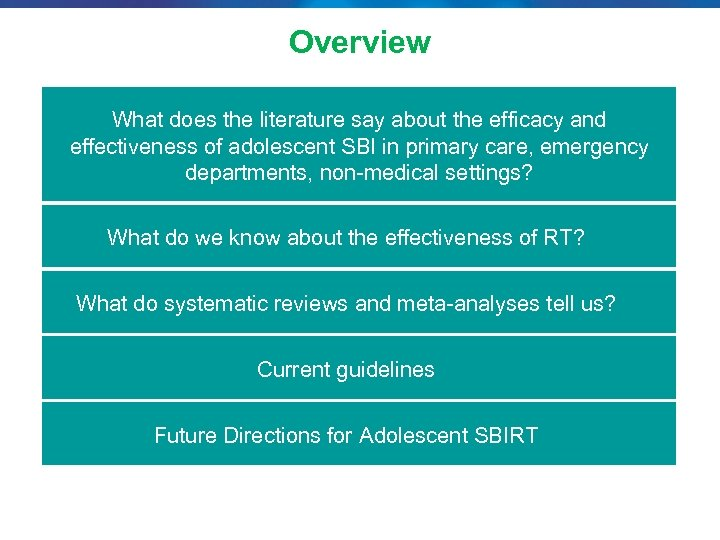Overview What does the literature say about the efficacy and effectiveness of adolescent SBI