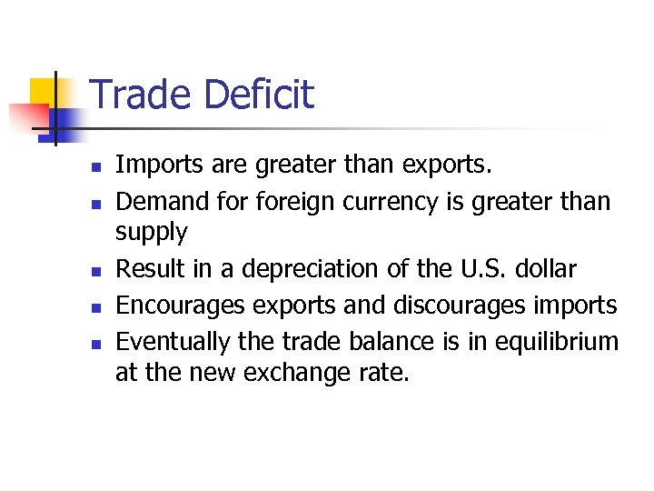 Trade Deficit n n n Imports are greater than exports. Demand foreign currency is