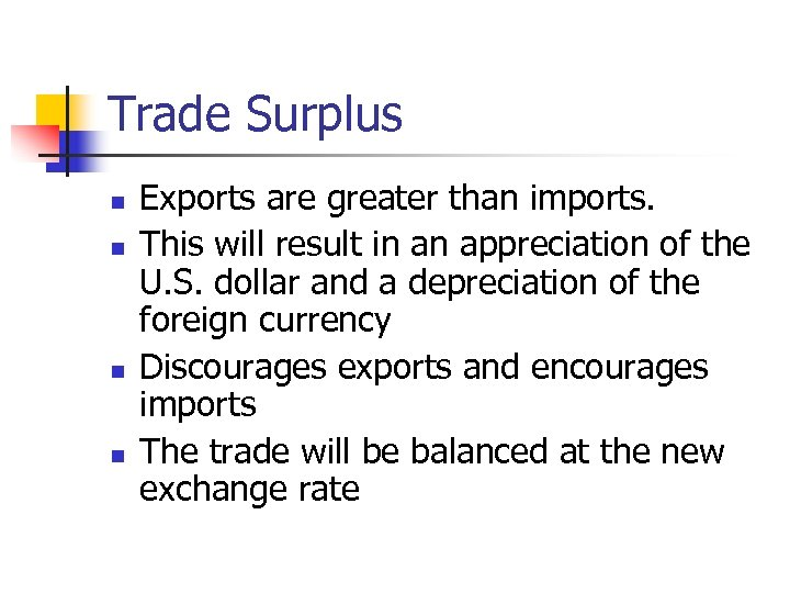 Trade Surplus n n Exports are greater than imports. This will result in an