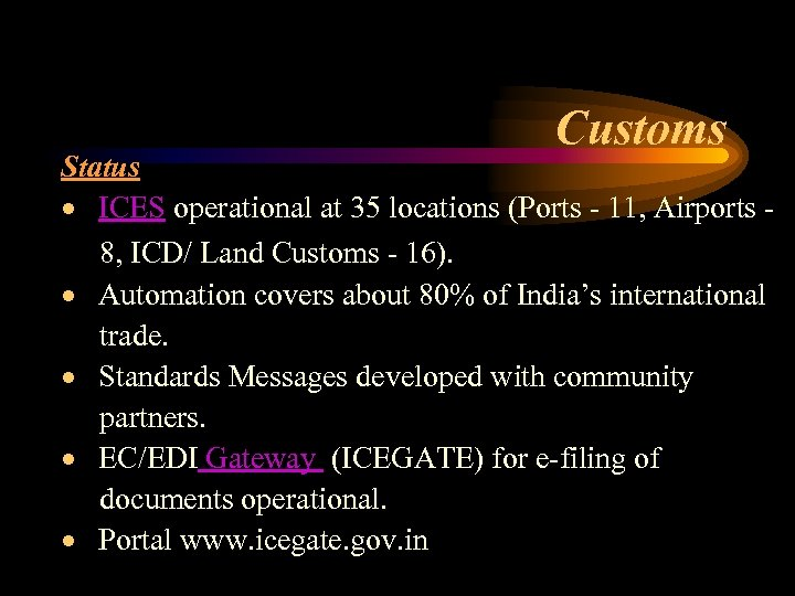 Customs Status · ICES operational at 35 locations (Ports - 11, Airports 8, ICD/