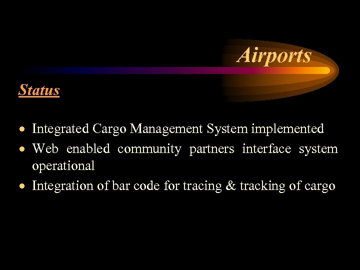 Airports Status · Integrated Cargo Management System implemented · Web enabled community partners interface