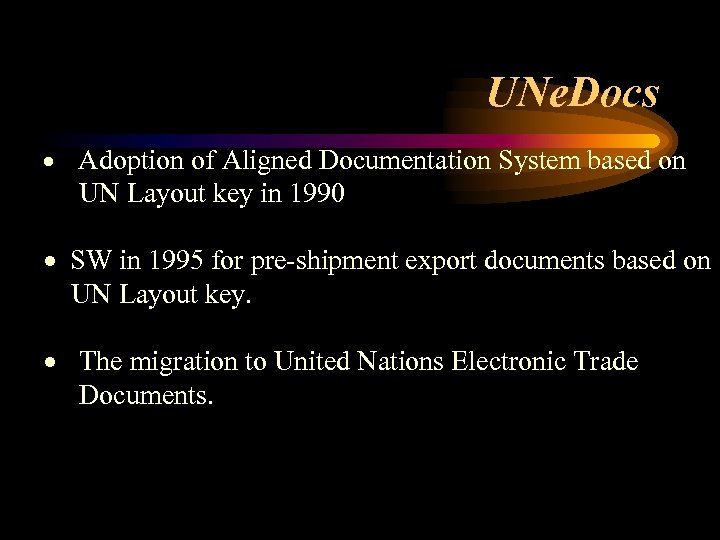 UNe. Docs · Adoption of Aligned Documentation System based on UN Layout key in