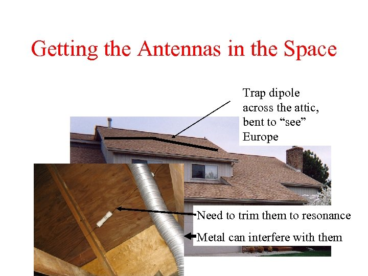"Getting the Antennas in the Space Trap dipole across the attic, bent to ""see"""
