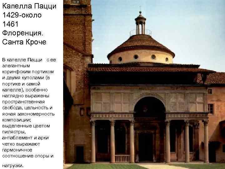 Капелла Пацци 1429 -около 1461 Флоренция. Санта Кроче В капелле Пацци с ее элегантным