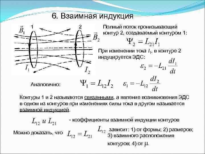 6. Взаимная индукция 1 2 Полный поток пронизывающий контур 2, создаваемый контуром 1: При