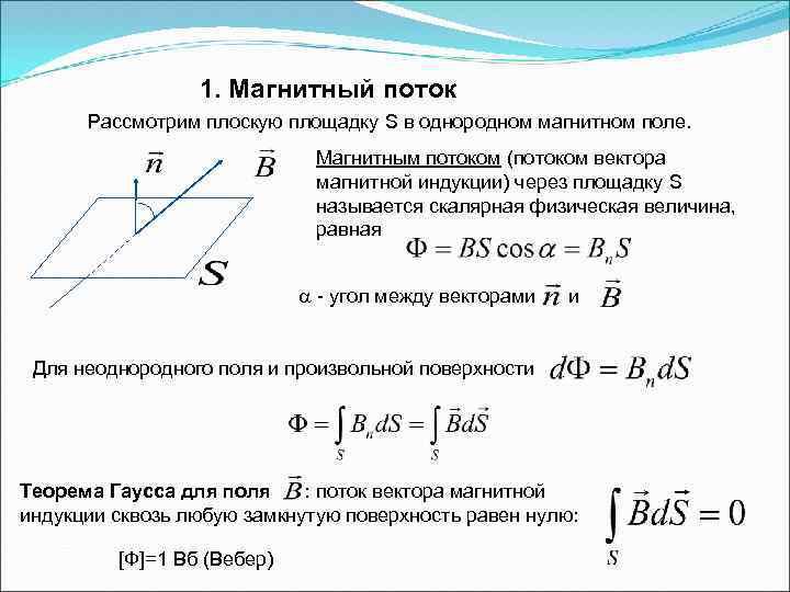 1. Магнитный поток Рассмотрим плоскую площадку S в однородном магнитном поле. Магнитным потоком (потоком