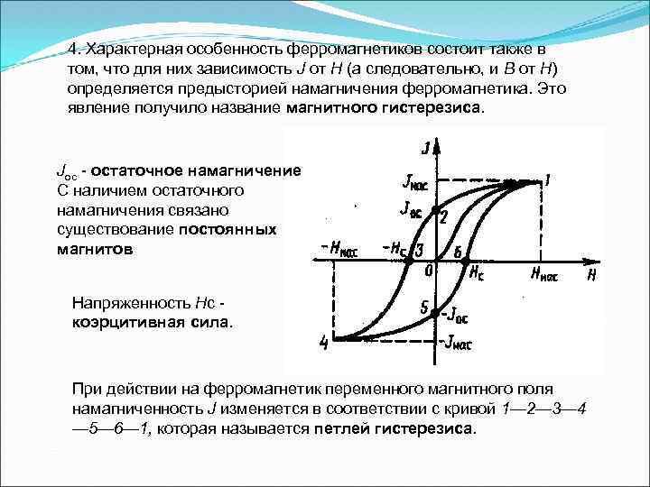 4. Характерная особенность ферромагнетиков состоит также в том, что для них зависимость J от