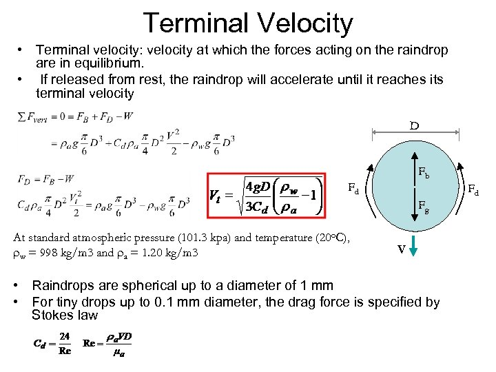 Terminal Velocity • Terminal velocity: velocity at which the forces acting on the raindrop