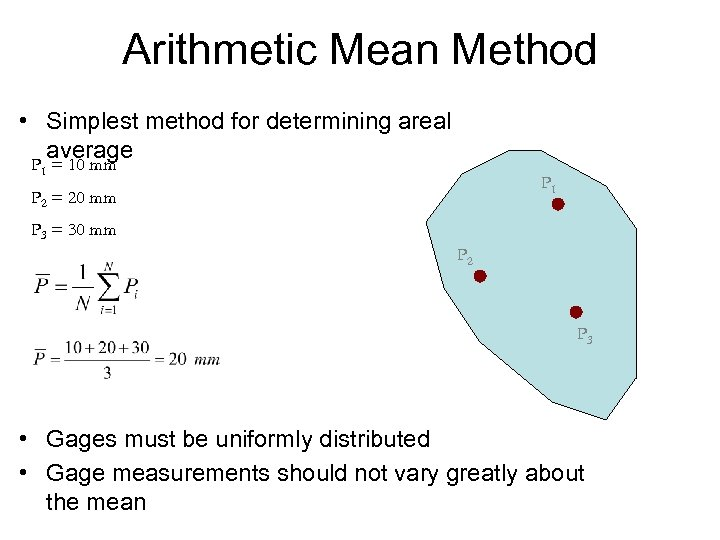 Arithmetic Mean Method • Simplest method for determining areal average P 1 = 10
