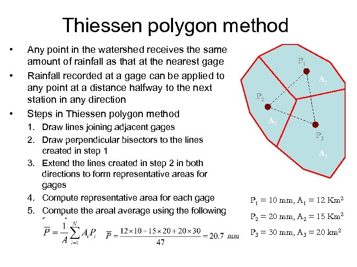 Thiessen polygon method • • • Any point in the watershed receives the same