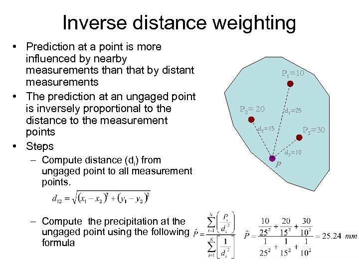 Inverse distance weighting • Prediction at a point is more influenced by nearby measurements