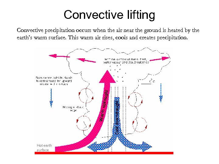 Convective lifting Convective precipitation occurs when the air near the ground is heated by