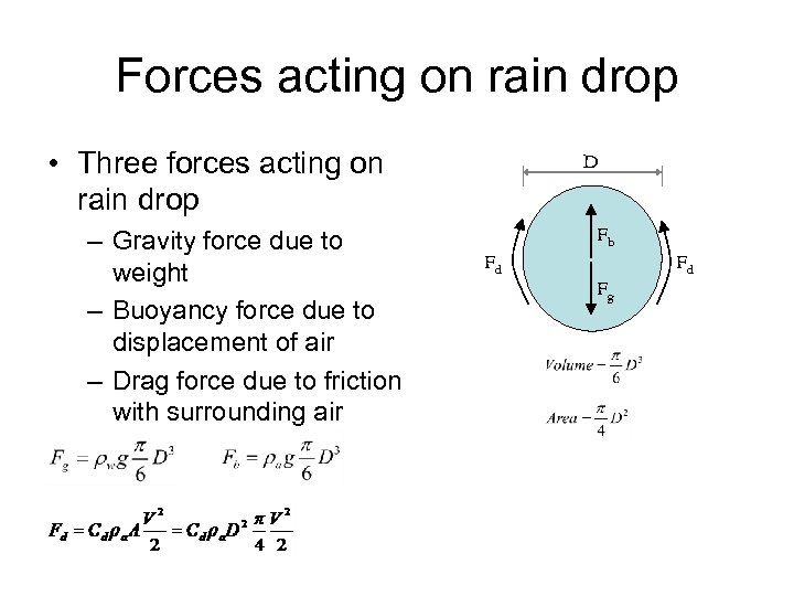 Forces acting on rain drop • Three forces acting on rain drop – Gravity