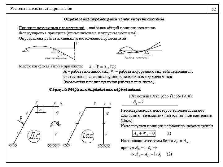 Расчеты на жесткость при изгибе 52 Определение перемещений точек упругой системы Принцип возможных перемещений