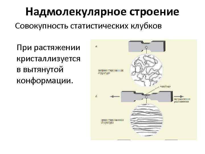 Надмолекулярное строение Совокупность статистических клубков При растяжении кристаллизуется в вытянутой конформации.