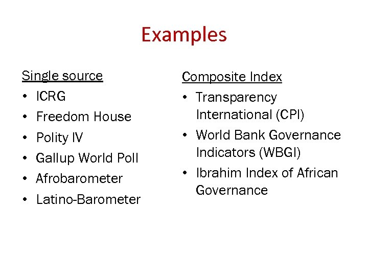 Examples Single source • ICRG • Freedom House • Polity IV • Gallup World