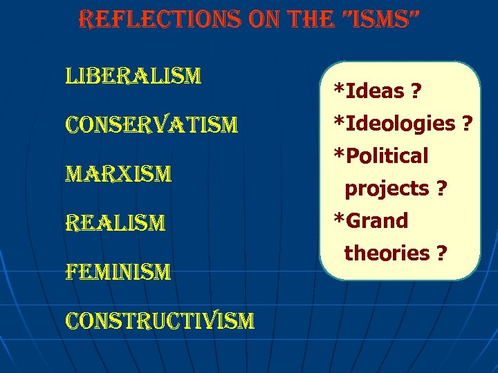 """reflections on the """"isms"""" liberalism conservatism marxism realism feminism constructivism *Ideas ? *Ideologies ?"""