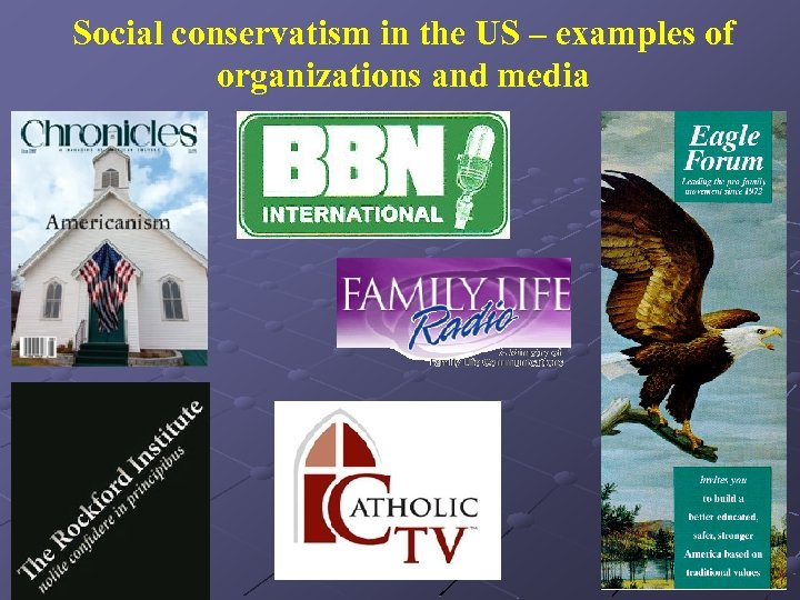 Social conservatism in the US – examples of organizations and media