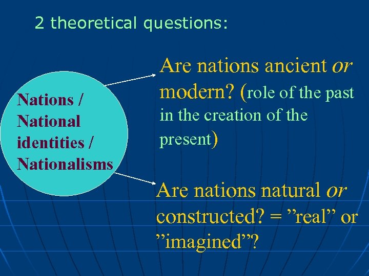 2 theoretical questions: Nations / National identities / Nationalisms Are nations ancient or modern?