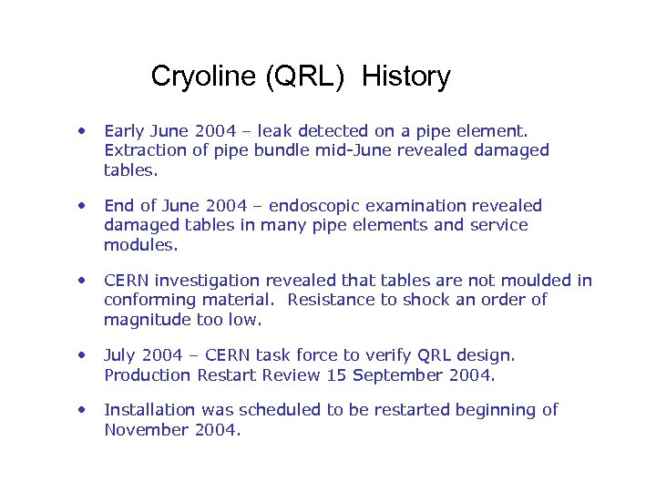 Cryoline (QRL) History • Early June 2004 – leak detected on a pipe element.