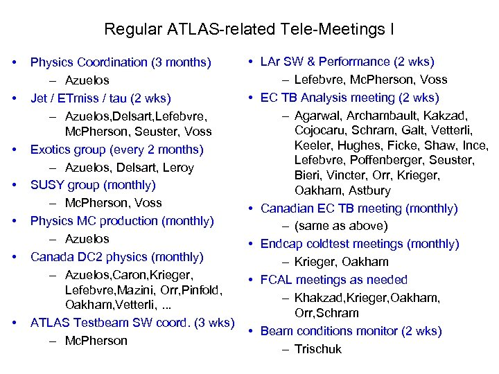 Regular ATLAS-related Tele-Meetings I • • Physics Coordination (3 months) – Azuelos Jet /