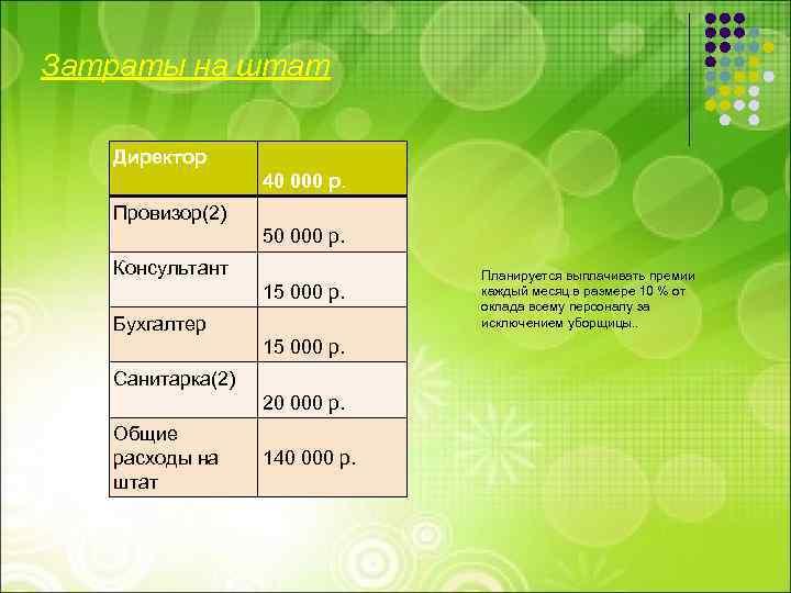 Затраты на штат Директор 40 000 р. Провизор(2) 50 000 р. Консультант 15 000