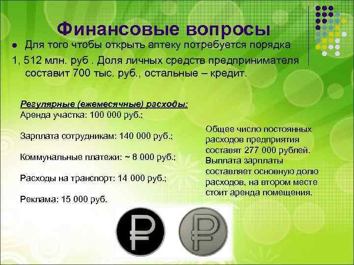 Финансовые вопросы Для того чтобы открыть аптеку потребуется порядка 1, 512 млн. руб. Доля