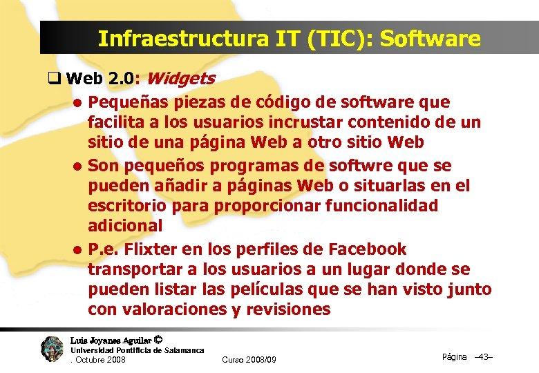 Infraestructura IT (TIC): Software q Web 2. 0: Widgets l Pequeñas piezas de código