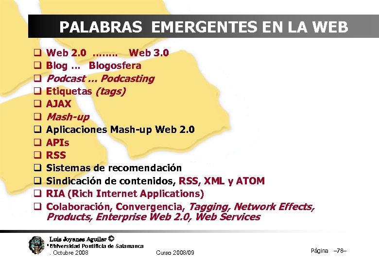 PALABRAS EMERGENTES EN LA WEB q q q q Web 2. 0 ……. .