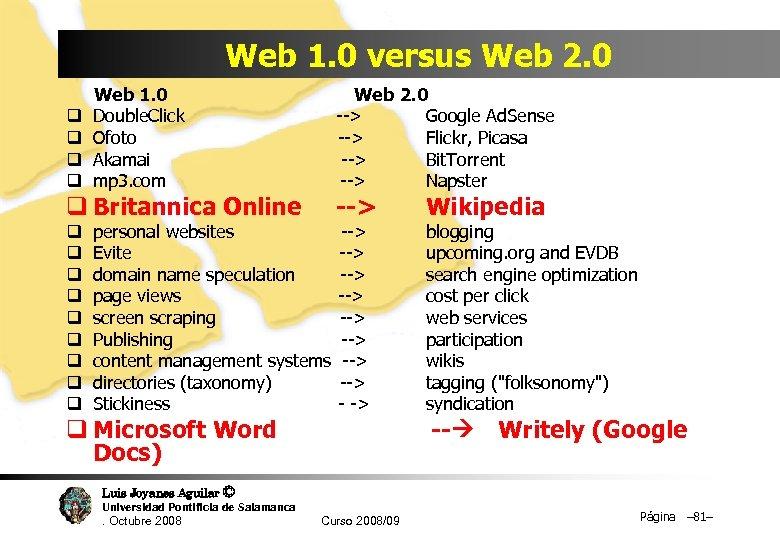 Web 1. 0 versus Web 2. 0 Web 1. 0 Web 2. 0 q