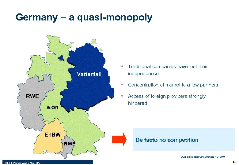 Germany – a quasi-monopoly • Traditional companies have lost their Vattenfall independence • Concentration