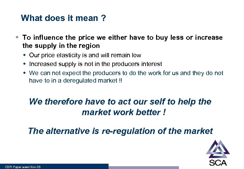 What does it mean ? § To influence the price we either have to