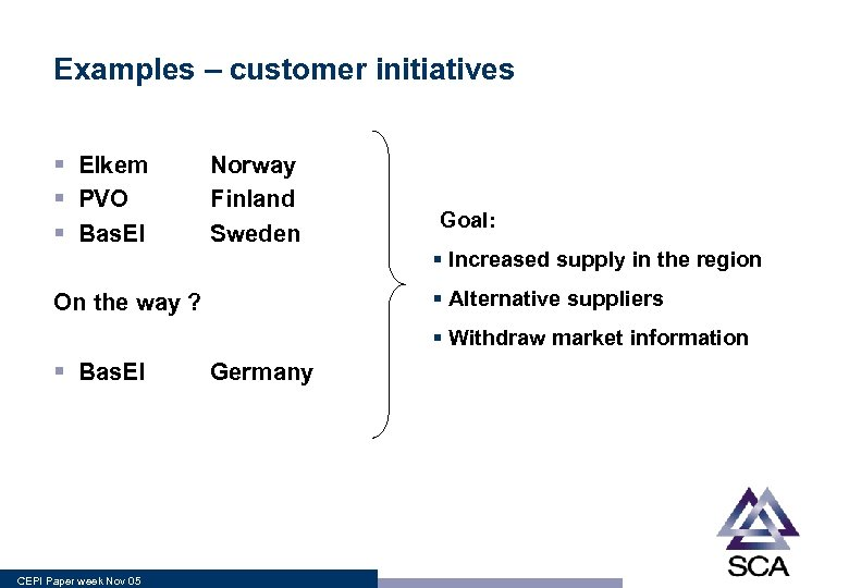 Examples – customer initiatives § Elkem § PVO § Bas. El Norway Finland Sweden