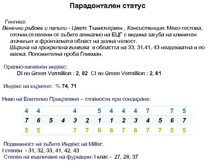 Парадонтален статус Гингива: Венечни ръбове и папили - Цвят: Тъмночервен , Консистенция: Меко-тестова, оточни,
