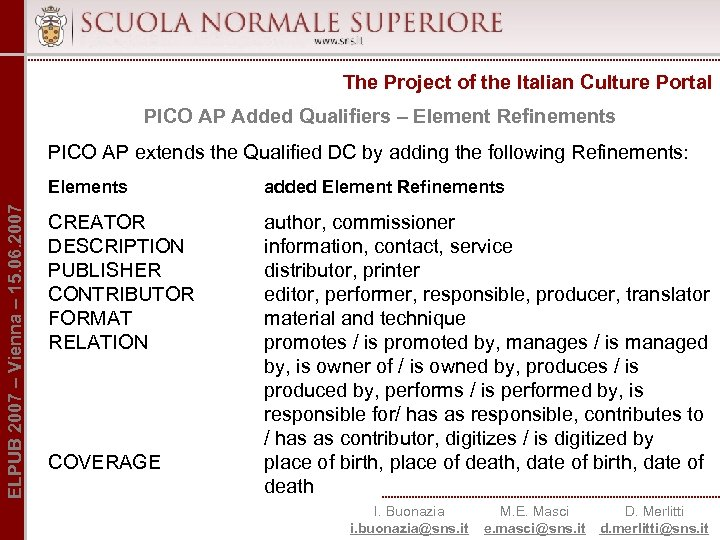 The Project of the Italian Culture Portal PICO AP Added Qualifiers – Element Refinements